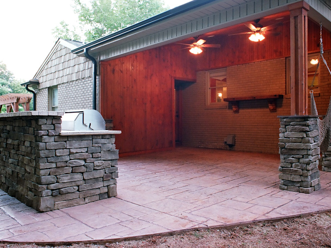 Built In Grill and Covered Porch with Stamped Concrete