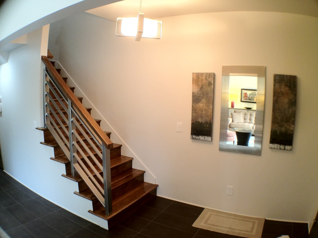 Hickory Wood Staircase/ Custom Stainless Steel Modern Handrail