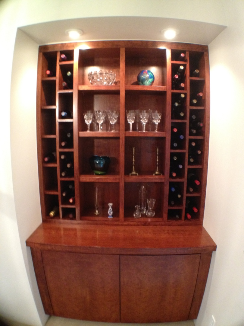 Custom Cherry Wood Wine Bar